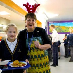 Mrs Thomas and pupil in the dining hall