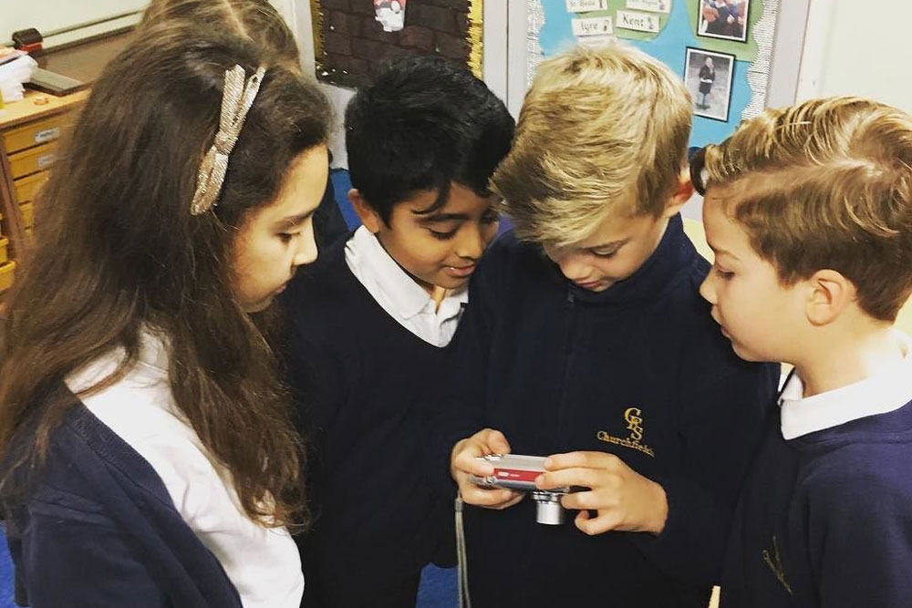 Pupils with digital camera