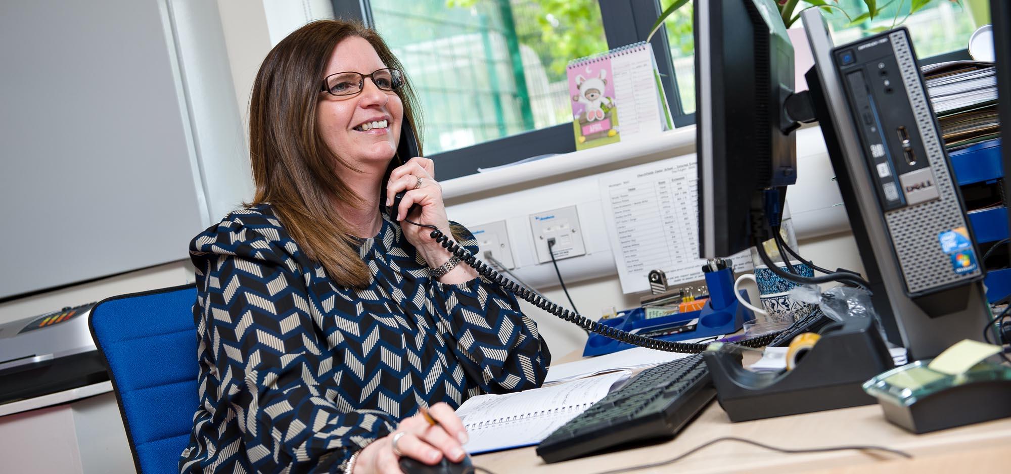 Mrs Storey on the phone