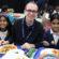 Staff and pupils enjoying Christmas dinner