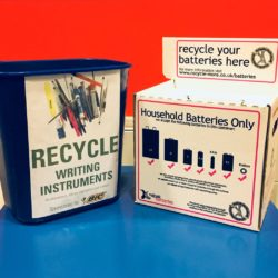 Recycling bins for batteries and writing instruments