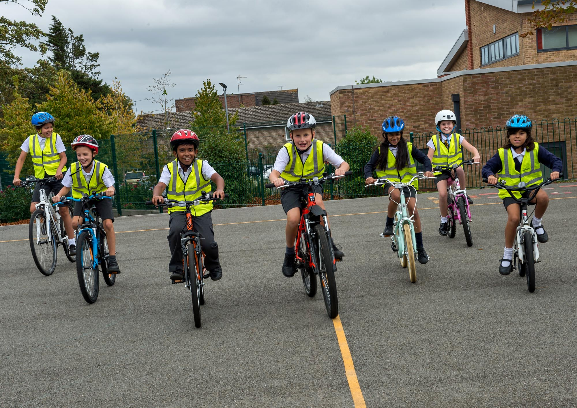 Group of children cycling
