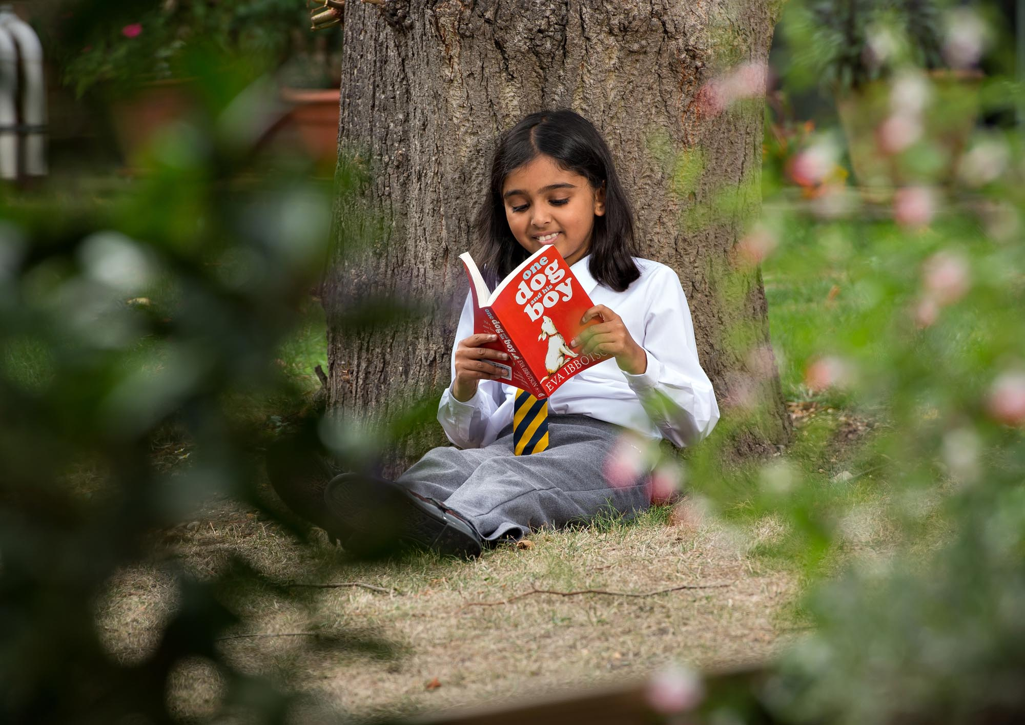 Girl reading outside by a tree