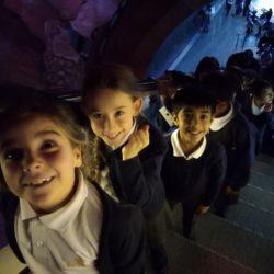 Children in line in escalator