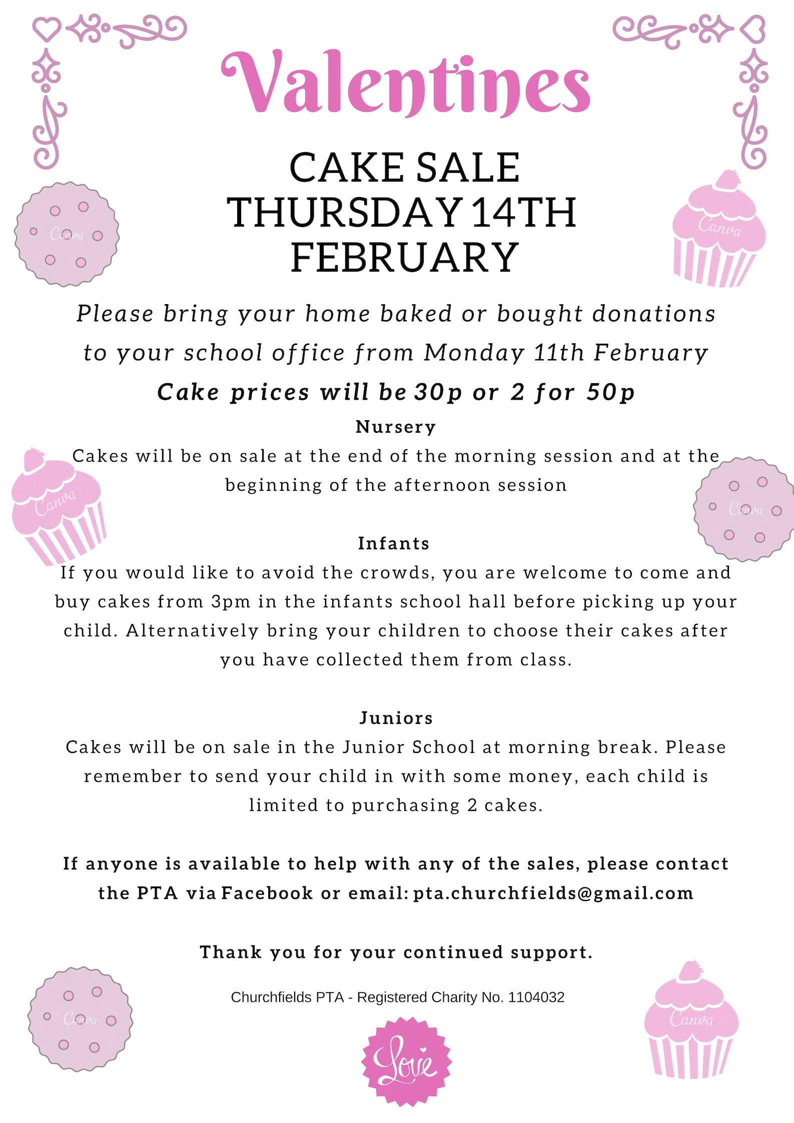 402b01653e55 Valentine s Cake Sale - Churchfields Junior School