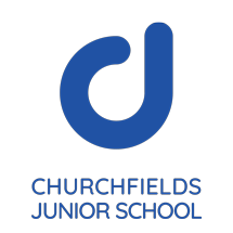 Churchfields Junior School logo portrait blue