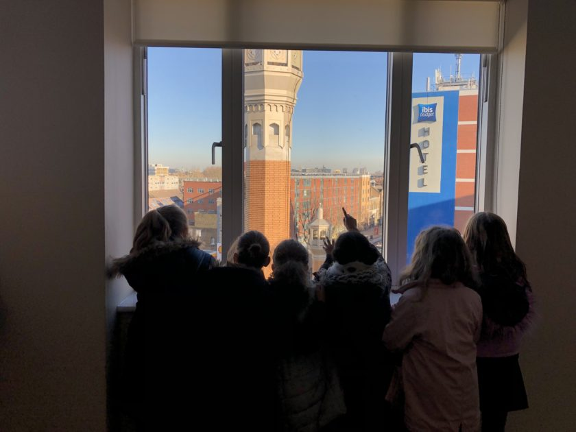 Children looking out of the window