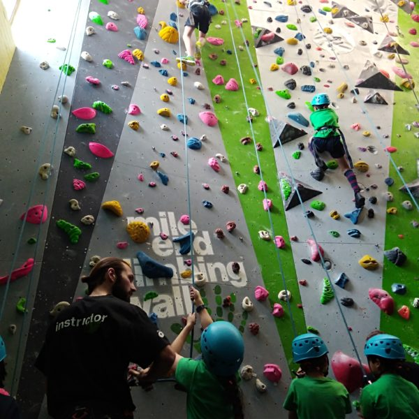 Children with helmets and green T-shirts climbing up high climbing wall