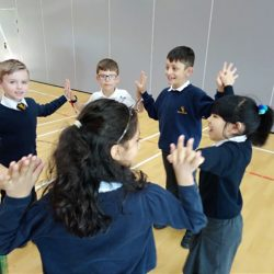 Children standing in group and holding hands