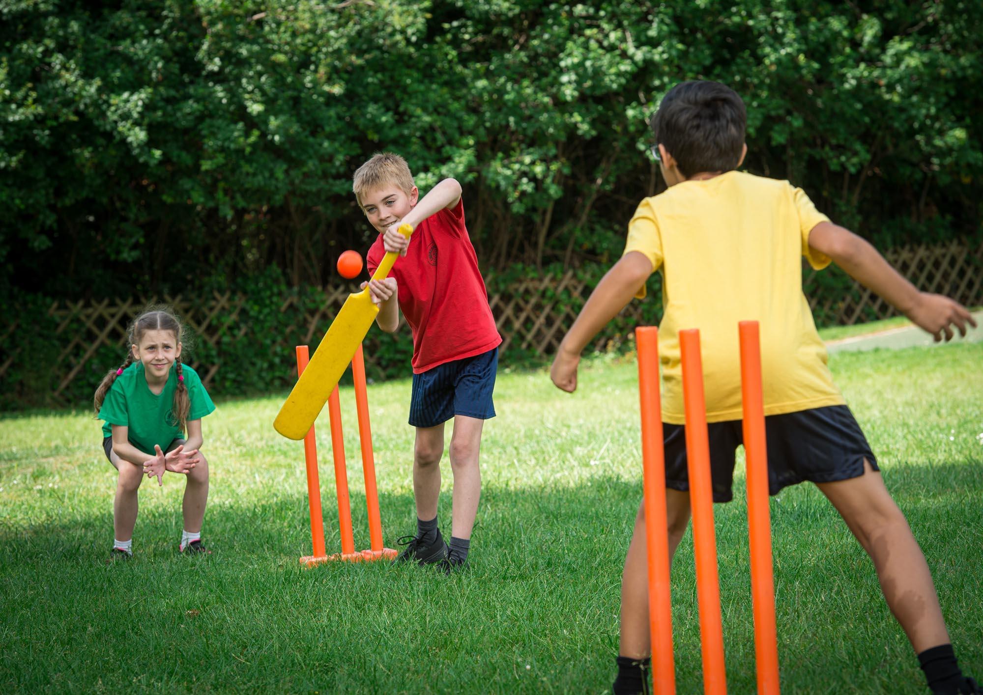 Children playing cricket