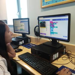 Girl in front of computer