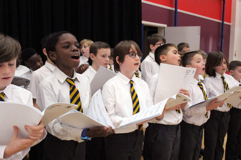 Boys' choir singing