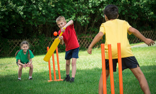 Pupils playing cricket