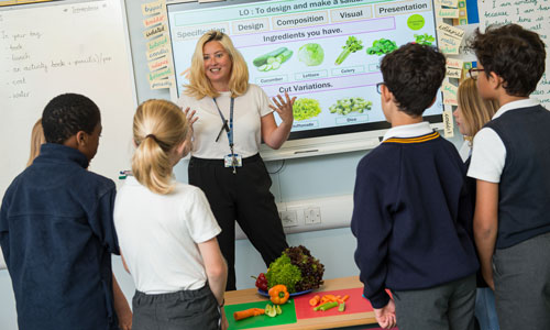 Ms Garcia teaching pupils about healthy eating