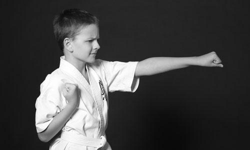 Boy practicing karate
