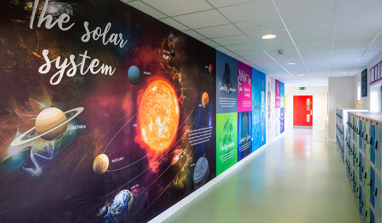 Corridor with Science wall, including the Solar System