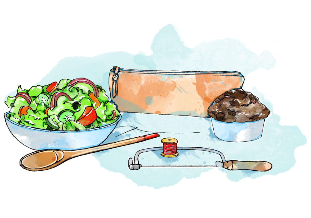 Illustration of salad, muffin, pencil case, saw, needle and thread