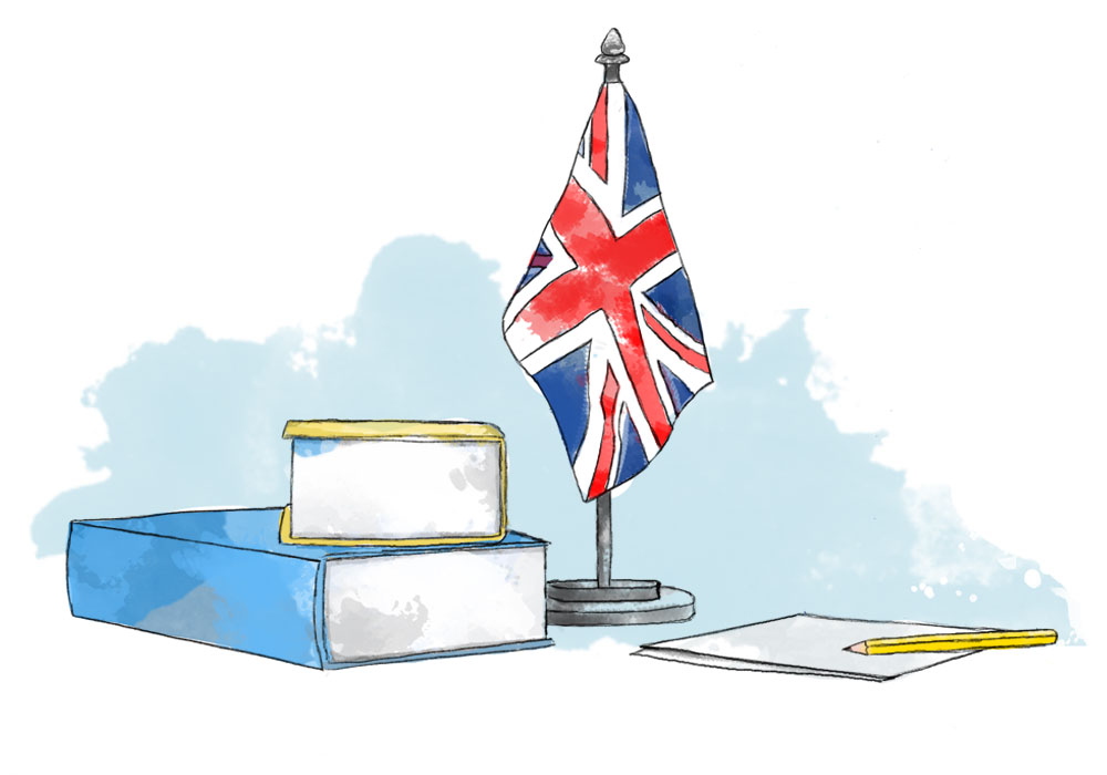 Illustration of British flag and books