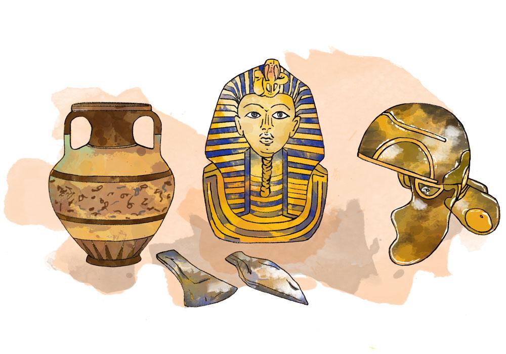 Illustration of historic items