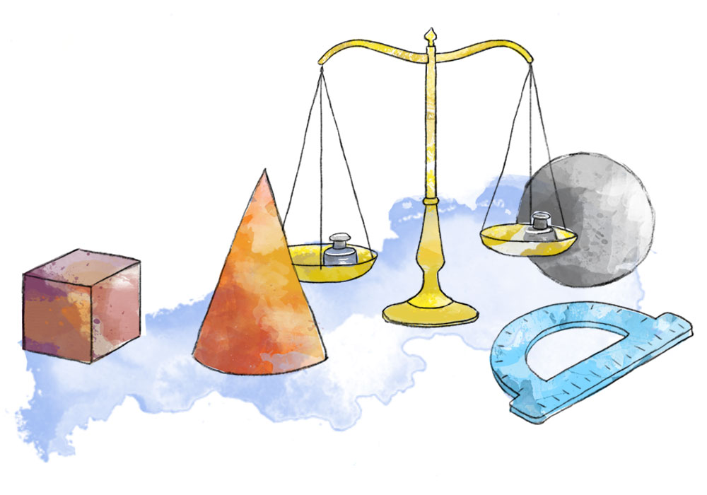 Illustration of cone, cube, scale and ruler