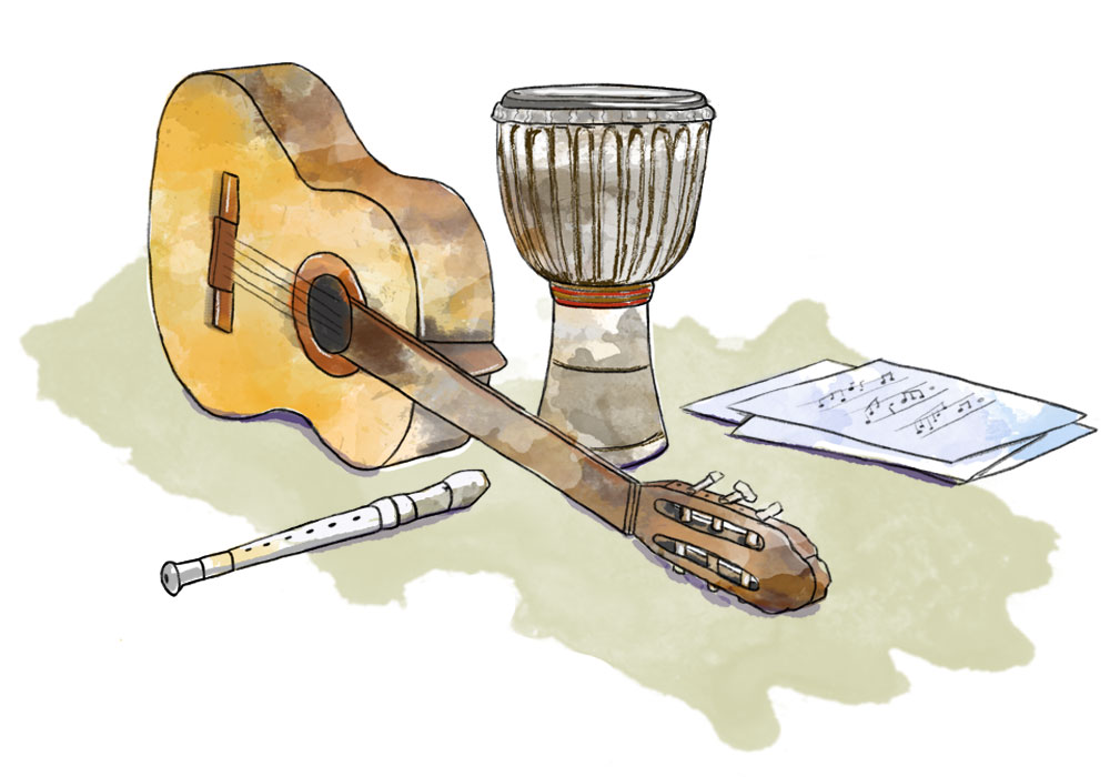 Illustration of guitar, recorder, music notes and African drum