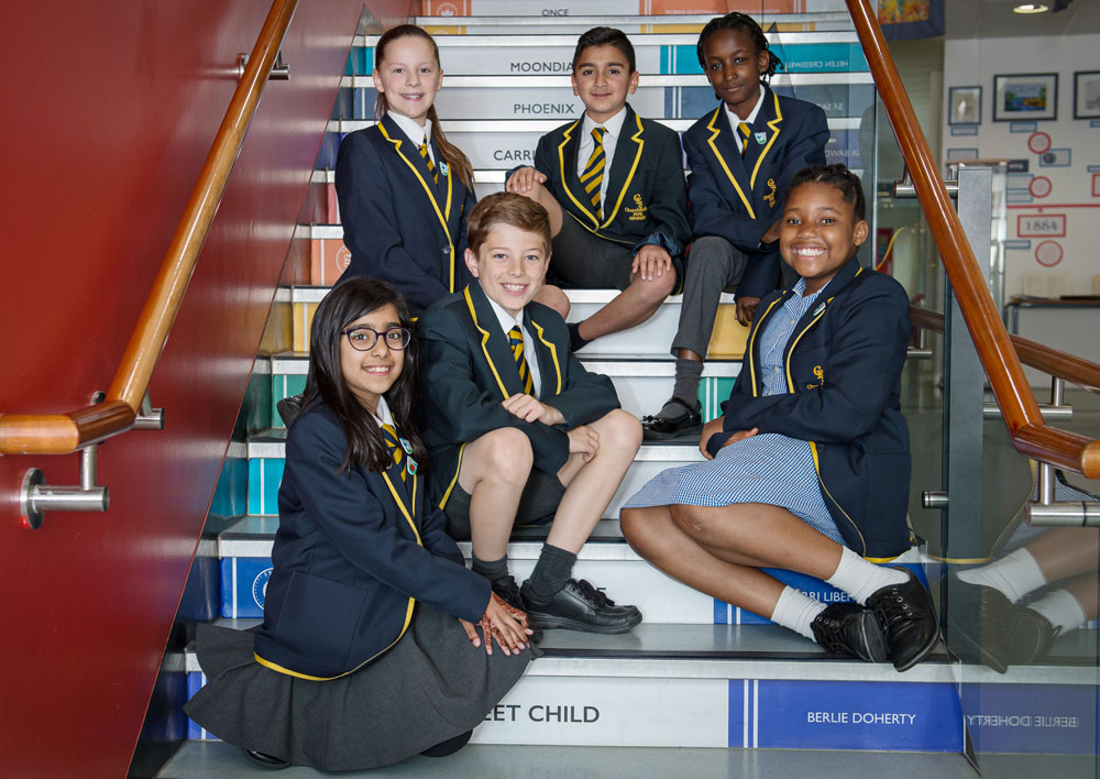 Pupil Advocates sitting in stairs