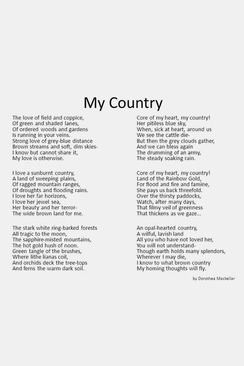 My Country by Dorothea Mackellar