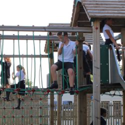 Children climbing in the playground