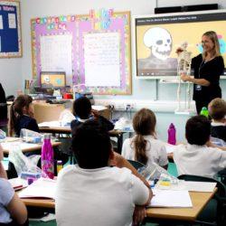 Mrs Dainton teaching children about the skeleton