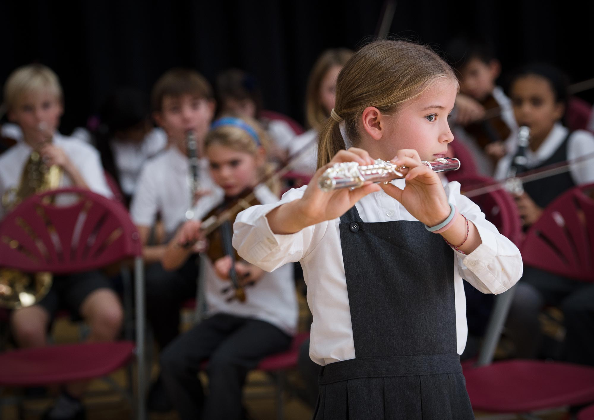 Girl playing the flute in the orchestra
