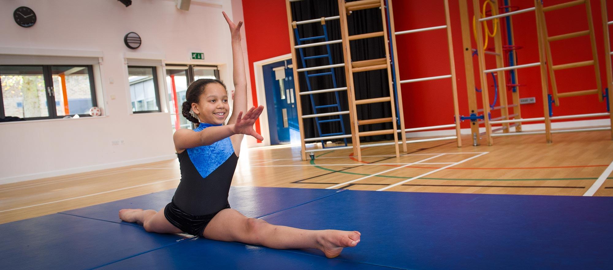 Girl doing a gymnastic split