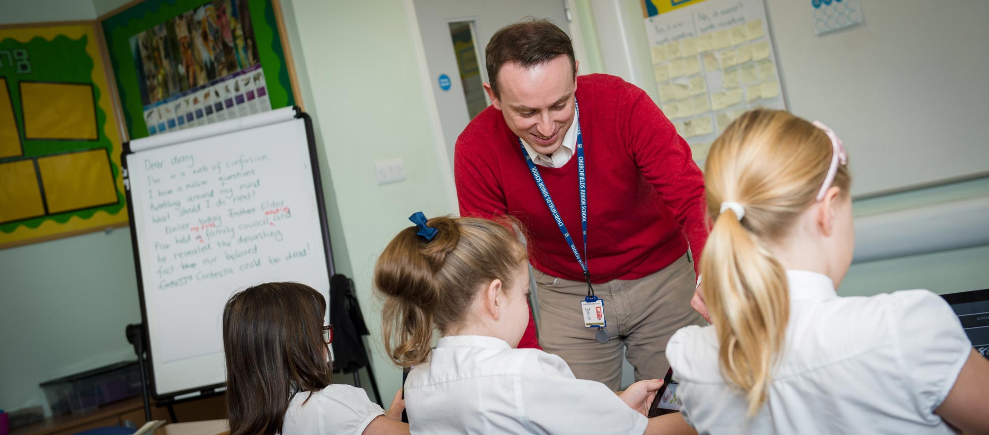 Mr Wilkins with pupils