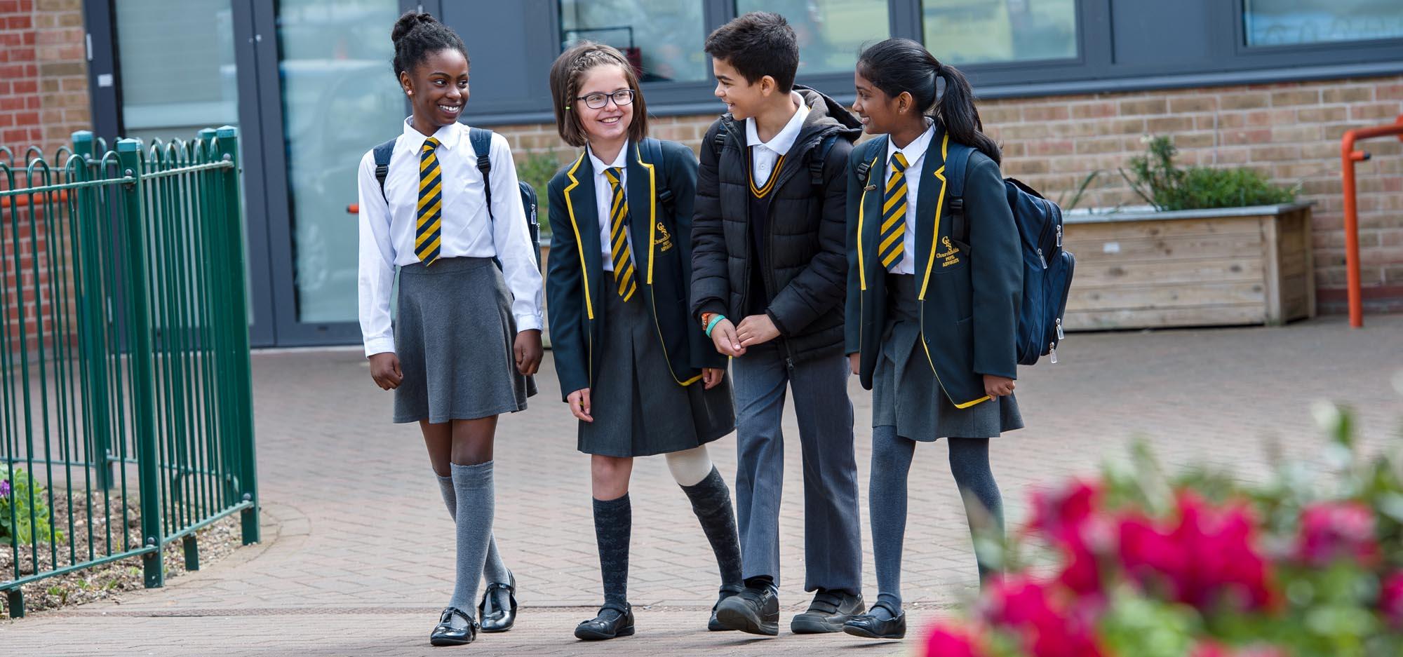 Pupils in uniform walking fro school
