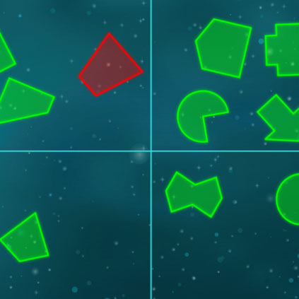Detail of sorting and classifying shapes game