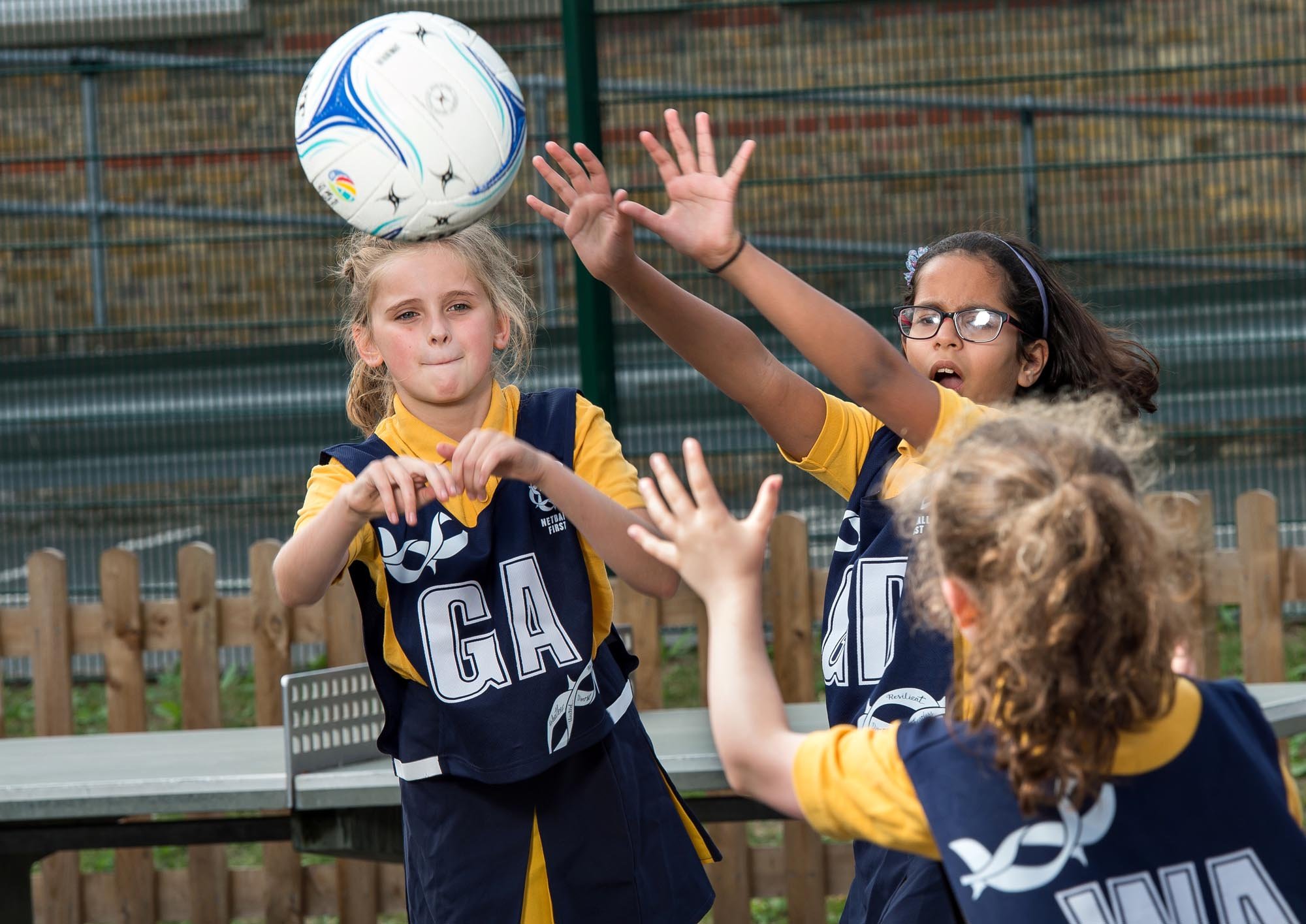 Netball match in action