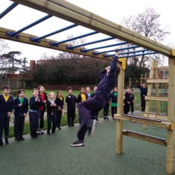 Boy taking part in Obstacles Course Challenge