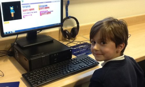 Boy using the computer