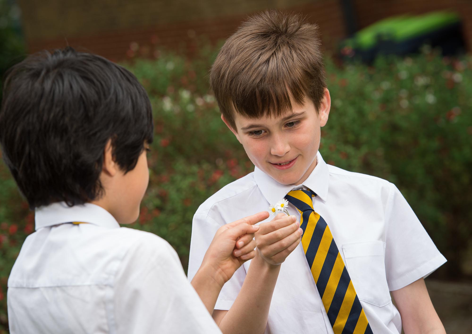 Boys holding at pointing at white flower