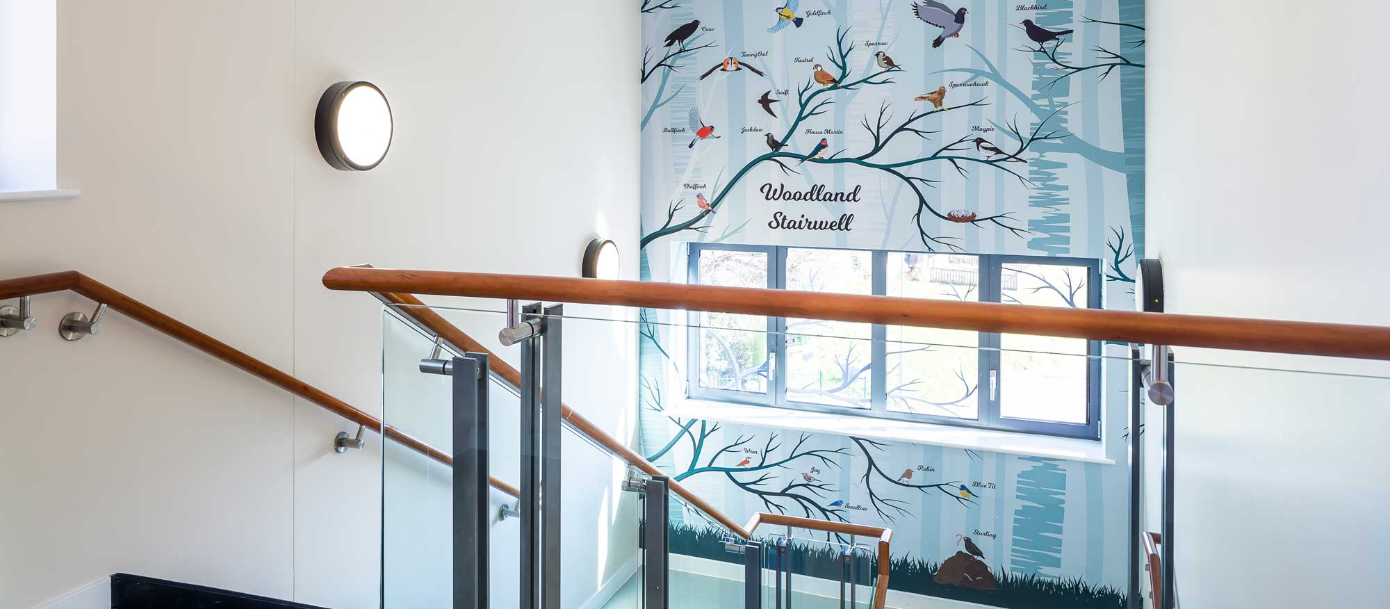 Woodland Stairwell with artwork with birds of different species