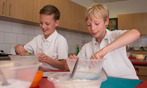 Two boys baking