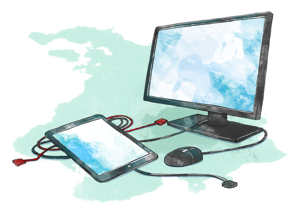 Illustration of computer and tablet