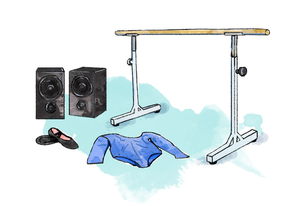 Illustration of dance costume, speakers and barre