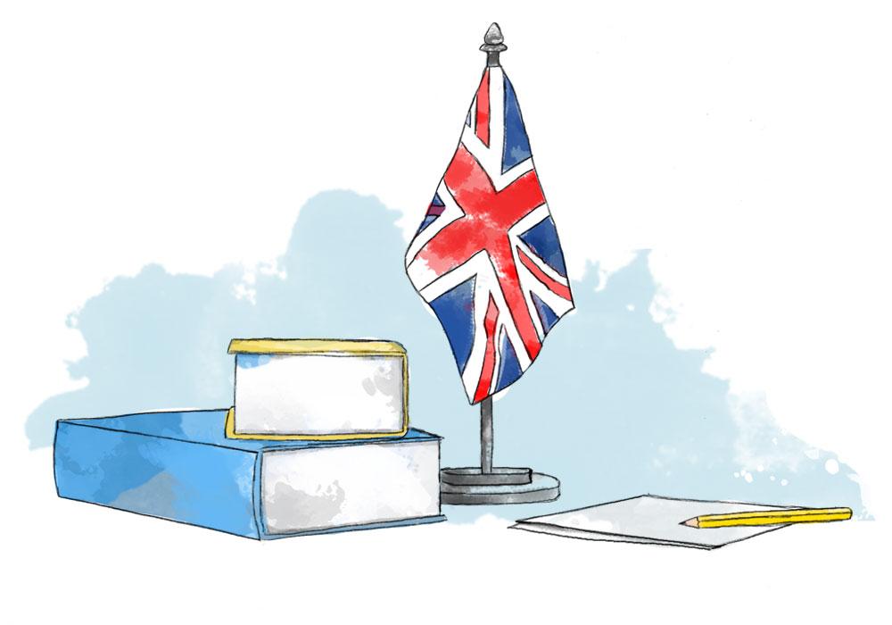 Illustration of British flag and books