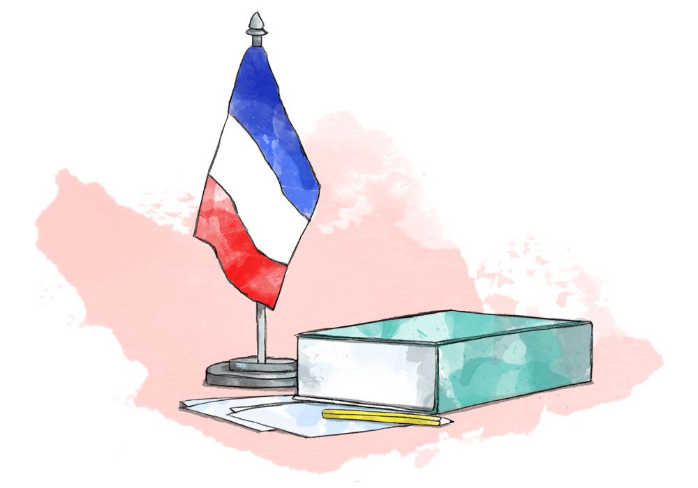 Illustration of French flag and dictionary
