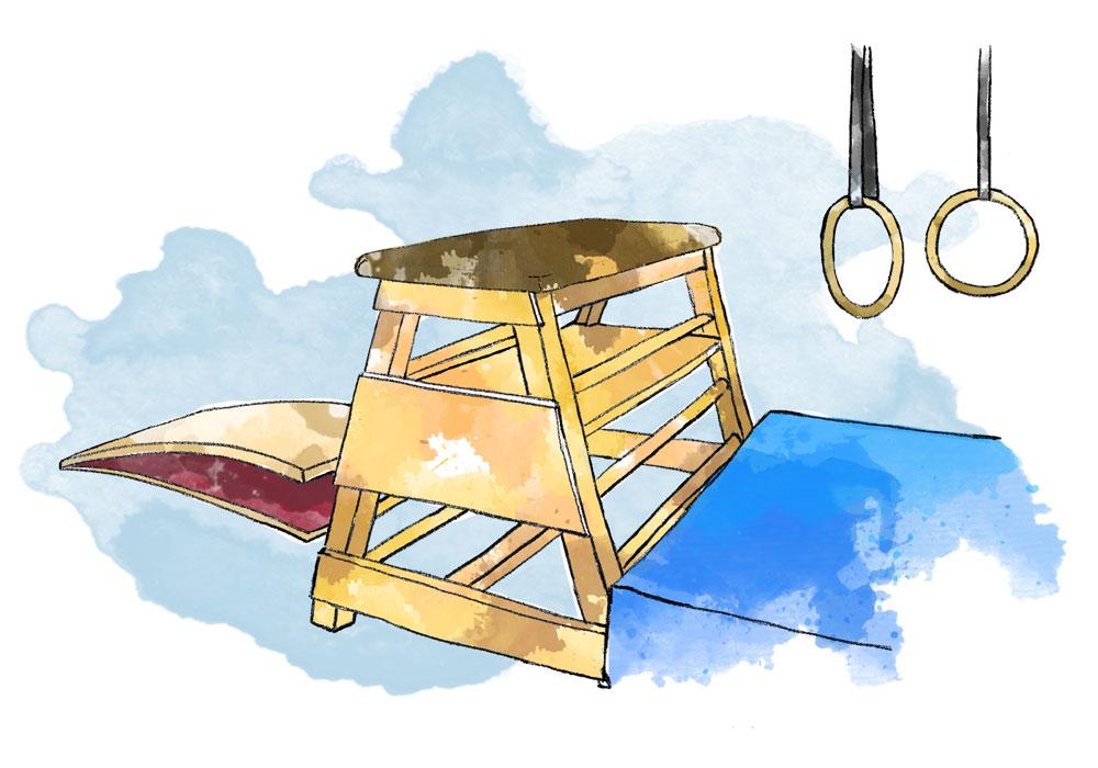 Illustration of gymnastic equipment