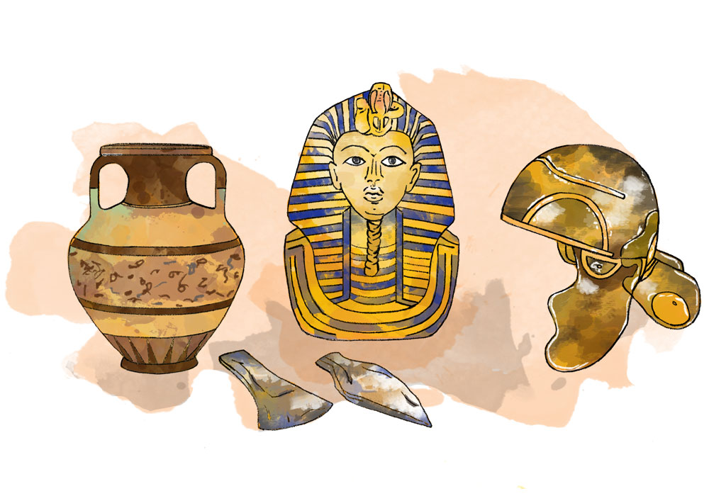 Illustration of historic items