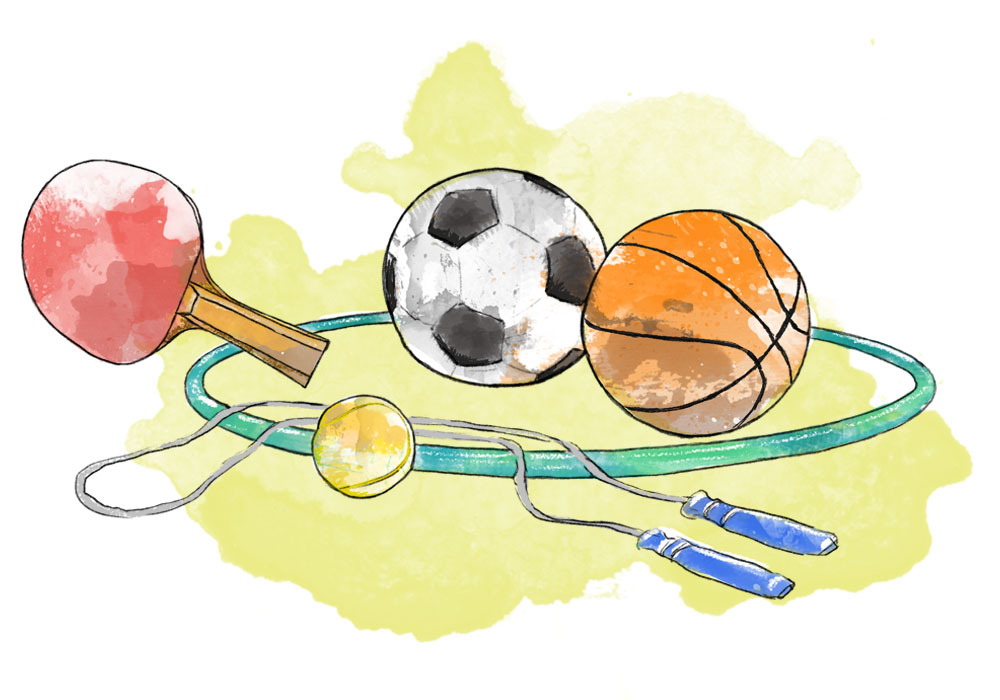Illustration of table tennis racket, football, basket ball, tennis ball and skipping rope