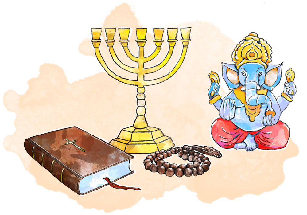 Illustration of bible, Ganesh, menorah and rosary