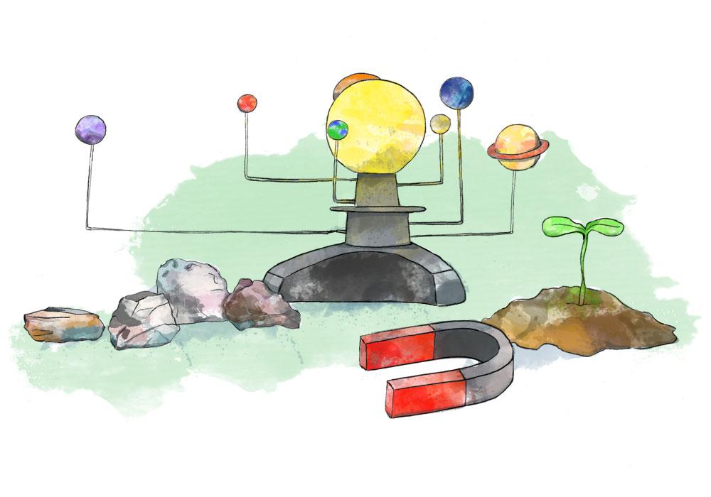 Illustration of rocks, solar system, magnet and seedling