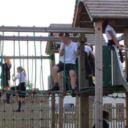 Children climbing in the playground